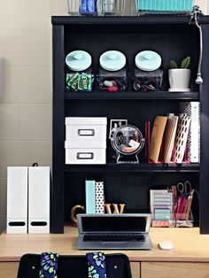 Stack up on top of a desk in order to maximze dorm room space! So smart!