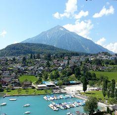 Spiez, Switzerland Mountain Pictures, Lugano, Alps, Austria, Switzerland, Travel Destinations, Beautiful Places, Scenery, Places To Visit