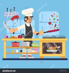 Chef prepares in kitchen Flat Vector illustration. eps10