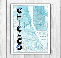 Chicago Map Decor Printable  Old Chicago by DilettanteArtPrints, $5.00