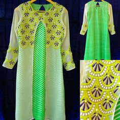 Jaipuri leheriya georgette kurti with pearl and thread work tunic. Differemt sizes and colors available.