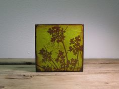 Lime Green Floral Art Block Painting Wall Hanging by MatchBlox, $29.00