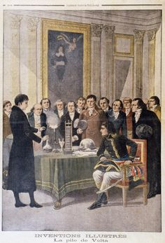 Alessandro Volta demonstrates his newly invented battery or 'voltaic pile' to Napoleon.