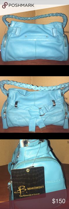 """B. Makowsky Leather Hobo Bag, Belt & Braided Strap Style: Lola Zip-around side pockets, slip pockets, back slit pocket, magnetic top closure Lined interior, center zip divider, D-ring, back-wall zip pocket, two back-wall slip pockets Measures approximately 12""""W x 9-1/2""""H x 5""""D with an 8-1/2"""" strap drop; weighs approximately 1 lb, 14 oz Body/trim 100% leather; lining 100% polyester Made in China b. makowsky Bags Hobos"""