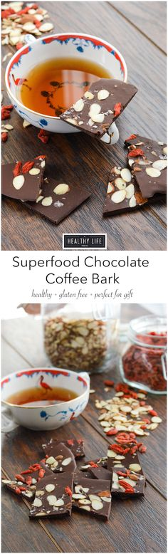 Superfood Chocolate Coffee Bark is a great homemade candy.  Dark chocolate filled with chia seeds, coffee, almonds, goji berries and topped with sea salt.  Perfect decadent treat or great holiday gift that is not only delicious, but healthy. - A Healthy Life For Me