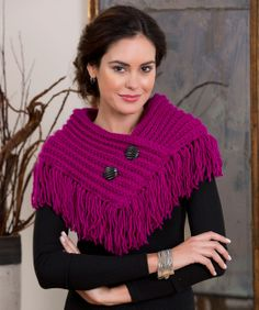 Fringed Cowl Knitting Pattern  #knit  #redheartyarns