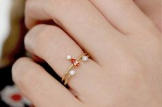 pear red sapphire round diamond engagement ring solid gold 18k gold