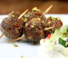 (Middle East) Miniature Beef and Pistachio Kofte (Mini Meatballs loaded with herbs and spices)