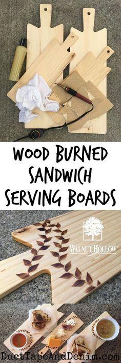 Rustic Wood Burnd Sandwich Serving Boards.