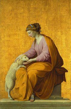 """Eustache Le Sueur (1616-1655):   French painter and draughtsman, was one of the most important painters of historical, mythological and religious pictures in 17th-century France and one of the founders of French classicism. """"Meekness"""" (1650)"""