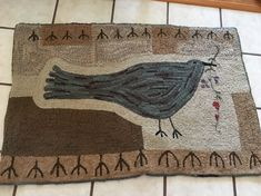 Hooked rugs primitive by Christine Girouard on Wool Rug Hooking Designs, Rug Hooking Patterns, Felt Patterns, Hand Hooked Rugs, Primitive Hooked Rugs, Hook Punch, Animal Rug, Rug Inspiration, Colorful Feathers