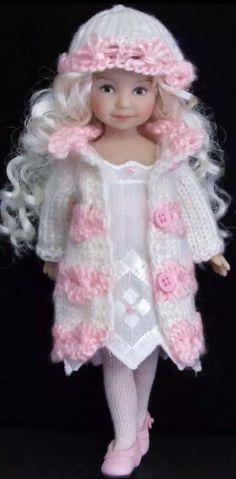 Handknit coat and dress set made for Effner heartstring doll