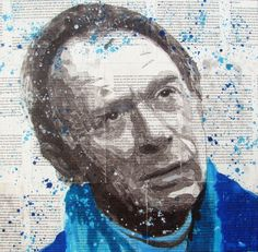 """Portrait of my father"", 50 x 50 cm, mixed media on a collage of pages from his book"