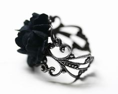 Black Rose Ring in Silver  Adjustable by robinhoodcouture on Etsy, $18.00