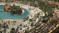 """""""Tropical Islands"""" indoor beach resort in Krausnick, Germany, occupies a former Soviet military airship hangar that is considered to be the biggest free-standing hall in the world"""