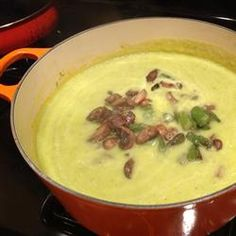 Cream of Asparagus and Mushroom Soup Recipe-instead of bacon and half and half we use potatoes to thicken it up.