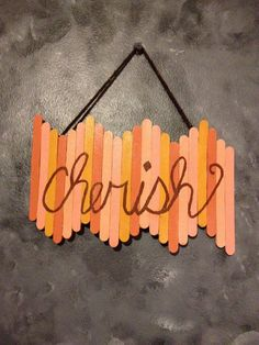 Popsicle stick wall art - Diy and crafts interests Diy Popsicle Stick Crafts, Popsicle Crafts, Craft Sticks, Diy With Popsicle Sticks, Pop Stick Craft, Wood Sticks, Crafts For Teens To Make, Crafts To Do, Kids Crafts