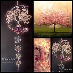 This is a Cherry Blossom family wire tree. It symbols the nature of human life. Evanescent yet beautiful. With countless of hours I handmade this unique piece. Using only the best materials like Swarovski crystal, Czech glass, glass and gemstones. I have used the gemstones Amethyst,
