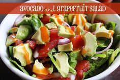 Grapefruit, avocado salad (with homemade dressing) - great holiday salad | Queen Bee Coupons
