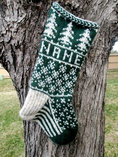 25% off through 7/26/2013 - hand knit evergreen stocking