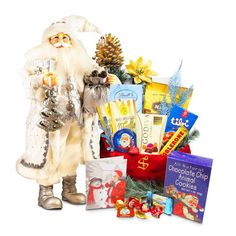 Santa in Silvery White Suit with Goody Bag - Christmas Gift Package - Send beautiful Santa packages for your Children by Letters and Gifts from Santa. Christmas Bags, Christmas Angels, Seashell Chocolates, Chocolate Santa, Holiday Greeting Cards, Goodie Bags, Holiday Festival, Gift Packaging, Special Gifts