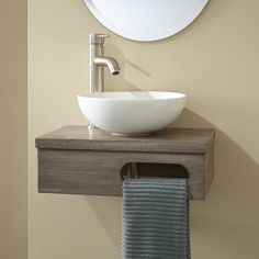 Dell Teak Wall Mount Vessel Vanity with Towel Bar No Drillings Gray Wash. The charming Dell Teak Wall-Mount Vessel Vanity is the perfect addition to a quaint bathroom. Small Bathroom Sinks, Diy Bathroom, Small Sink, Teak Wall, Wall Mounted Bathroom Sinks, Small Vanity Sink, Small Bathroom, Small Bathroom Vanities, Tiny Bathroom