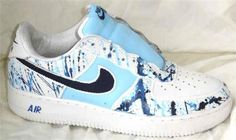 save off 07fd9 c3cb1 REMIXDAKICKZ Blue Splash Custom Painted Air Force One Sneakers hand painted  shoes airbrushed kicks hot customized tennis shoes