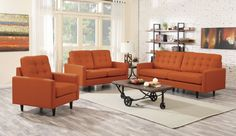 Create a casual atmosphere in your room with this Kesson Living Room Set by Coaster Furniture. It features an orange linen-like fabric, reversible back and seat cushions and stylish tapered solid wood legs. This is the collection you can share with friend Living Room Sofa Design, Living Room Chairs, Interior Design Living Room, Living Room Furniture, Living Rooms, Fine Furniture, Furniture Design, Oranges Sofa, Dallas Furniture Stores