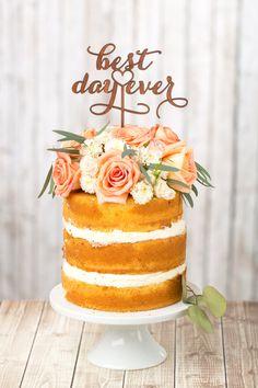 "I kinda really like the ""naked cake"" look! Enhance your naked cake with an adorable wedding cake topper. [via Etsy] Birch Wedding Cakes, Rustic Wedding Cake Toppers, Rustic Cake, Wedding Rustic, Cake Wedding, Wedding Ideas, Rustic Wood, Wedding Decorations, Wedding Vintage"