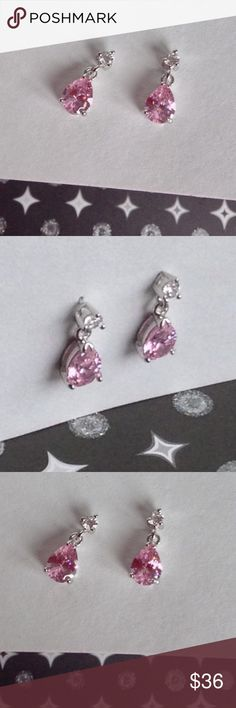🎉HOST PICK🎉Pink Topaz 925 Silver Earrings Beautiful Pink Topaz 925 Silver Earrings. 1 solitaire white Topaz gently dangles from main pink Topaz.  Stamped 925 Jewelry Earrings