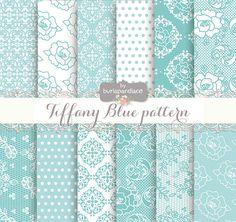 Digital paper Tiffany Blue Shabby lace pattern by 1burlapandlace, $4.99
