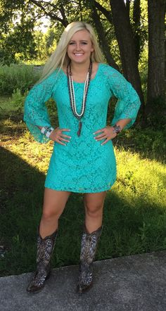 Not the right color but love this look for bridesmaids!!! Turquoise Lace Dress Flared Sleeve - Madi's Red Cactus Boutique
