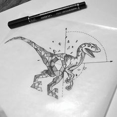 Funny grey-ink half-geometric dinosaur tattoo design