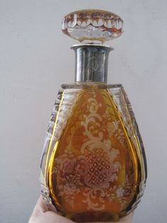 Antique Vintage Bohemian Amber Glass Etched Decanter Bottle