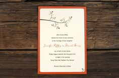 Fall Tree Branch Wedding Invitations