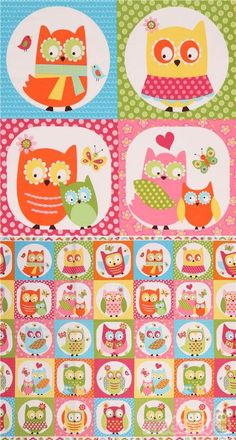 "colorful cotton fabric with owls in squares, in blue, pink, orange etc., Material: 100% cotton, Fabric Type: smooth cotton fabric, Pattern Repeat: ca. 61.1cm (24.1"") #Cotton #Animals #AnimalPrint #DoubleBorder #Panels #FullPattern #USAFabrics"