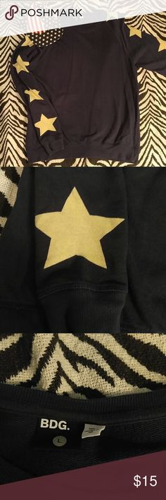 *SALE* Urban Outfitters star sleeved sweatshirt L Stylish navy blue crewneck sweatshirt with stars down each sleeve! Urban Outfitters Shirts Sweatshirts & Hoodies