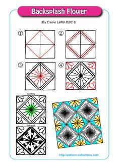 Zentangle Pattern Gallery (Step-by-Step) Zen Doodle Patterns, Doodle Art Designs, Mandala Pattern, Zentangle Patterns, Zentangle Drawings, Doodles Zentangles, Doodle Drawings, Easy Drawings, Tangle Doodle