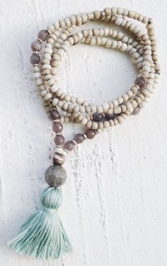 Image of Love Bead Necklace - Soft Cream Beads, Labradorite Accents, Tassel #100120