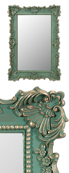 Update your walls with an ornate accent. Our Verde Wall Mirror combines farmhouse charm with vintage-inspired elegance. Its frilly trim gives it eye-catching texture, while its pretty hue is a warm des...  Find the Verde Wall Mirror, as seen in the Mirrors Collection at http://dotandbo.com/category/decor-and-pillows/mirrors?utm_source=pinterest&utm_medium=organic&db_sku=121610