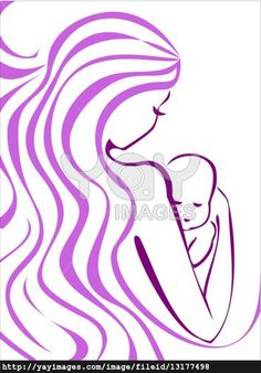 outline of mom and baby tattoo | Young Mother And Baby Concept Sketch In Lilac Outlines