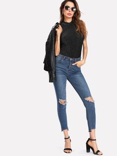 Online shopping for Mock Neck Glitter Bodysuit from a great selection of women's fashion clothing & more at MakeMeChic.COM.