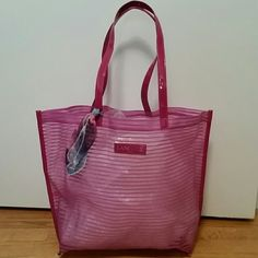 "Lancome mesh beach bag or tote with purse scarf Pretty fuscia color.  approx 17.5"" w & 12.5""h & 4""d Lancome Bags Totes"