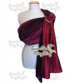 Christmas Red SILK Ring Sling Double Layer, Reversible, Dupioni SweetPea Ring Sling Gift Red Purple Bugundy Baby Carrier Wrap Reversible Made in the USA by SweetPeaRingSlings on Etsy