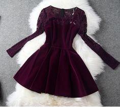 Sweet Lace Long-sleeved Dress on Luulla Winter Formal Dresses, Semi Formal Dresses, Short Dresses, Pretty Outfits, Pretty Dresses, Beautiful Dresses, Luulla Dresses, Dress Skirt, Dress Up