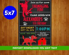 Clifford the Big Red Dog Birthday Invitation  by partypixels1