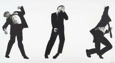 """Robert LONGO (né en 1953)  MEN IN THE CITIES, 1993  Lithographie en noir, signée, datée """" 93″ et numérotée 10/15  56,5 x 106,5 cm – encadrée."""