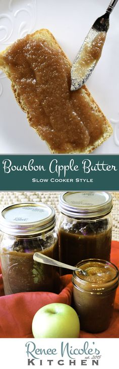 This bourbon apple butter is simmered in bourbon then slow cooked in a crockpot to develop deep, rich flavors and a thick buttery texture. Delicious on toast, a tasty filling for puffed pastry, and it freezes well for later. Bourbon Recipes, Jam Recipes, Canning Recipes, Apple Recipes, Dessert Recipes, Recipies, Canning Tips, Apple Desserts, Detox Recipes