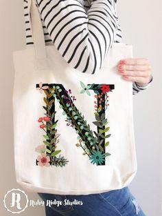 Personalised Floral Monogram Tote Bag by RubyRidgeStudios on Etsy Monogram Tote Bags, Printed Tote Bags, Bridesmaid Tote Bags, Bridesmaid Gifts, Flower Line Drawings, Flower Bag, Floral, Etsy Christmas, Hand Embroidery Designs