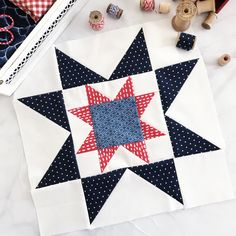 Are you guys ready for block three? This is my favorite block in the quilt! I love star blocks, and this one is a double star block! I'm thinking I need a whole quilt made out of this block! Big Block Quilts, Star Quilt Blocks, Star Quilt Patterns, Star Quilts, Pattern Blocks, Scrappy Quilts, Quilting Ideas, Half Square Triangle Quilts Pattern, Square Quilt
